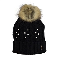 Golf 2 Golf Womens Embellished Bobble Hat Black Crystal 2016