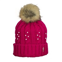 Golf 2 Golf Womens Embellished Bobble Hat Pink Crystal 2016