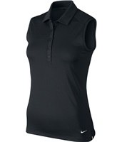 Nike Golf Ladies Victory Solid Sleeveless Polo Black/White 2017