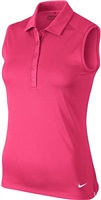 Nike Golf Ladies Victory Solid Sleeveless Polo Vivid Pink/White 2017