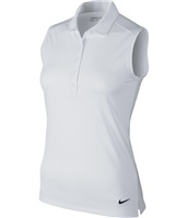 Nike Golf Ladies Victory Solid Sleeveless Polo White/Black 2017