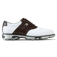 FootJoy Dryjoys Tour Golf Shoes Wide Fit White/Brown Croc