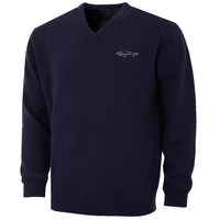 Greg Norman V Neck Lambswool Blend Tour Sweater Navy