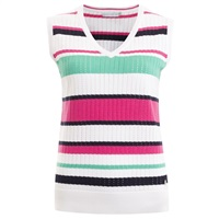 Green Lamb Ladies Barbie Stripe Slipover White/Fuchsia 2018