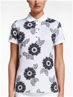 Rohnisch Ladies AOP Polo Shirt Black Maasai Flower 2018