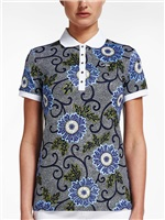 Rohnisch Ladies AOP Polo Shirt Blue Maasai Flower 2018