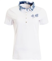 Green Lamb Ladies Peggy Palm Print Trim Polo Shirt White/Ocean 2018