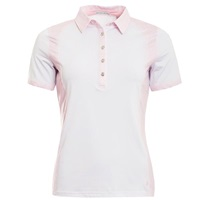 Green Lamb Ladies Phoebe Pebble Print Polo Shirt White/Pink 2018
