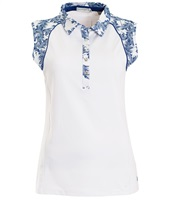 Green Lamb Ladies Piper Sleeveless Print Trim Polo Shirt White/Ocean 2018
