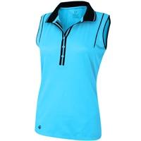 Island Green Ladies Sleeveless Moisture Wicking Polo Summer Blue 2018