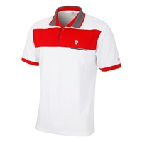 Island Green Contrast Panel Block Polo Shirt White/Red