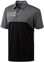 Adidas 3-Stripes Heather Blocked Polo Black Heathered 2018