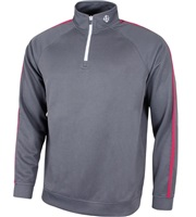 Island Green 1/4 Zip Ribbed Neck Top Grey/Deep Red 2018