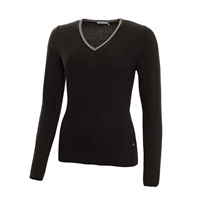 Green Lamb Ladies Brid Cable Sweater Black/White