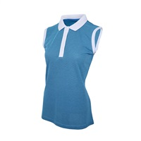 Island Green Ladies Sleeveless Deep Placket Polo Shirt Deep Pool/White