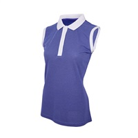 Island Green Ladies Sleeveless Deep Placket Polo Shirt Lavender/White