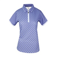 Island Green Ladies Sublimated Zip Neck Polo Shirt Lavender/White