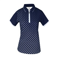 Island Green Ladies Sublimated Zip Neck Polo Shirt Navy/White