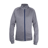 Island Green Ladies Contrast Full Zip Top Grey Marl/Navy