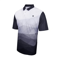 Island Green Abstract Design Polo Shirt Black/White
