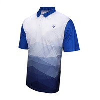 Island Green Abstract Design Polo Shirt Blue Flame/White