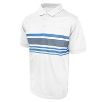 Island Green Chest Stripe Golf Polo Shirt White/Charcoal