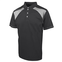 Island Green Contrast Panel Short Sleeve Golf Polo Shirt Charcoal/Steel Grey