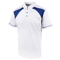 Island Green Contrast Panel Short Sleeve Golf Polo Shirt White/Blue Flame