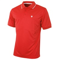 Island Green Contrast Tipped Collar CoolPass Breathable Polo Shirt Red