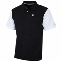 Island Green Contrast Sleeve Cotton Golf Polo Shirt Black
