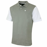 Island Green Contrast Sleeve Cotton Golf Polo Shirt Charcoal