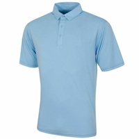 Island Green Contrast Stitch Stretch Polo Shirt Chambray Blue
