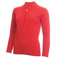 Green Lamb Ladies Gigi Superwool Half Zip Sweater Watermelon