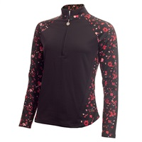 Green Lamb Ladies Kalista Half Zip Printed Panels Top Black Confetti