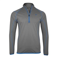 Island Green Contrast Stitch Thermal Zip Neck Top Layer Grey/Marine
