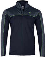 Island Green Contrast Yoke 1/4 Zip Top Layer Navy Blue Marl/Lime Green