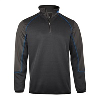Island Green Quarter Zip Panelled Top Layer Grey