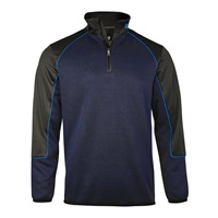 Island Green Quarter Zip Panelled Top Layer Navy/Black