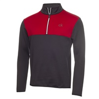Calvin Klein Golf Two Colour Half Zip Top Charcoal/Red
