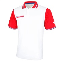 Island Green Contrast Pocket Stretch Quick Drying Polo Shirt White/Adrenaline Red