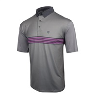 Island Green Striped Chest Polo Shirt Silver Grey/Charcoal