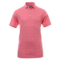 FootJoy Smooth Pique Weather Print Golf Polo Shirt Cape Red