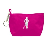 Golf 2 Golf Embroidered Pink Lady Golfer Handbag