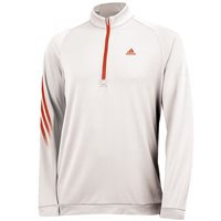 Adidas 3 Stripes Fleece 1/2 Zip Training Top White Solar Red