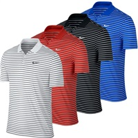 Nike Golf Mens Victory Mini Stripe LC Polo Shirt Black/White
