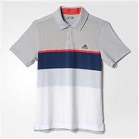 Adidas Boys Climacool Engineered Striped Golf Polo Stone/Shock Red