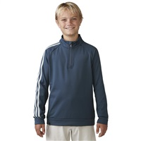 Adidas Junior 3-Stripe Quarter Zip Golf Top Mineral Blue