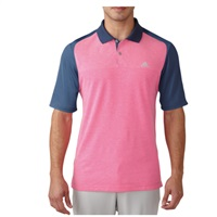 Adidas Mens Climacool Aeroknit Colour Block Golf Polo Mineral Blue/Shock Pink