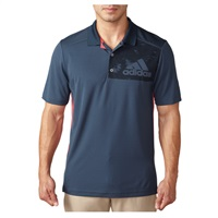 Adidas Mens Climacool Badge Of Sport Geo Print Golf Polo Mineral Blue