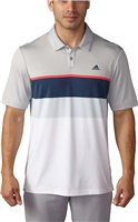 Adidas Mens Climacool Engineered Striped Golf Polo Shirt Stone/Shock Red/Mineral Blue/Halo Blue White